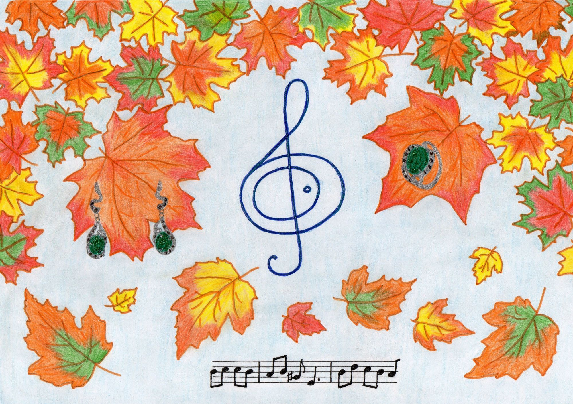 Открытка на тему осень нарисовать, детей девочек