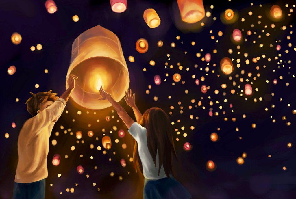Картинка обои небесные фонарики
